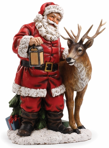 Santa with Reindeer Statue only 49500 at Garden Fun