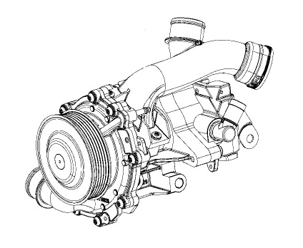 2.2L Water Pump and Power Steering Pump Assembly #68090692AB