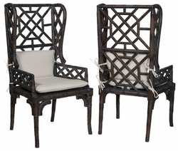 wicker wingback chairs chiavari aluminum hand painted distressed rattan bamboo wing back chair one pair