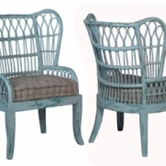 Rattan Wingback Chairs Metal Bistro Chair Hand Painted Distressed Wicker Bamboo Wing Back One Pair