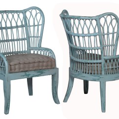 Wicker Wingback Chairs Ball Chair Amazon Rattan Wing Back Waterfront Cooled Blue