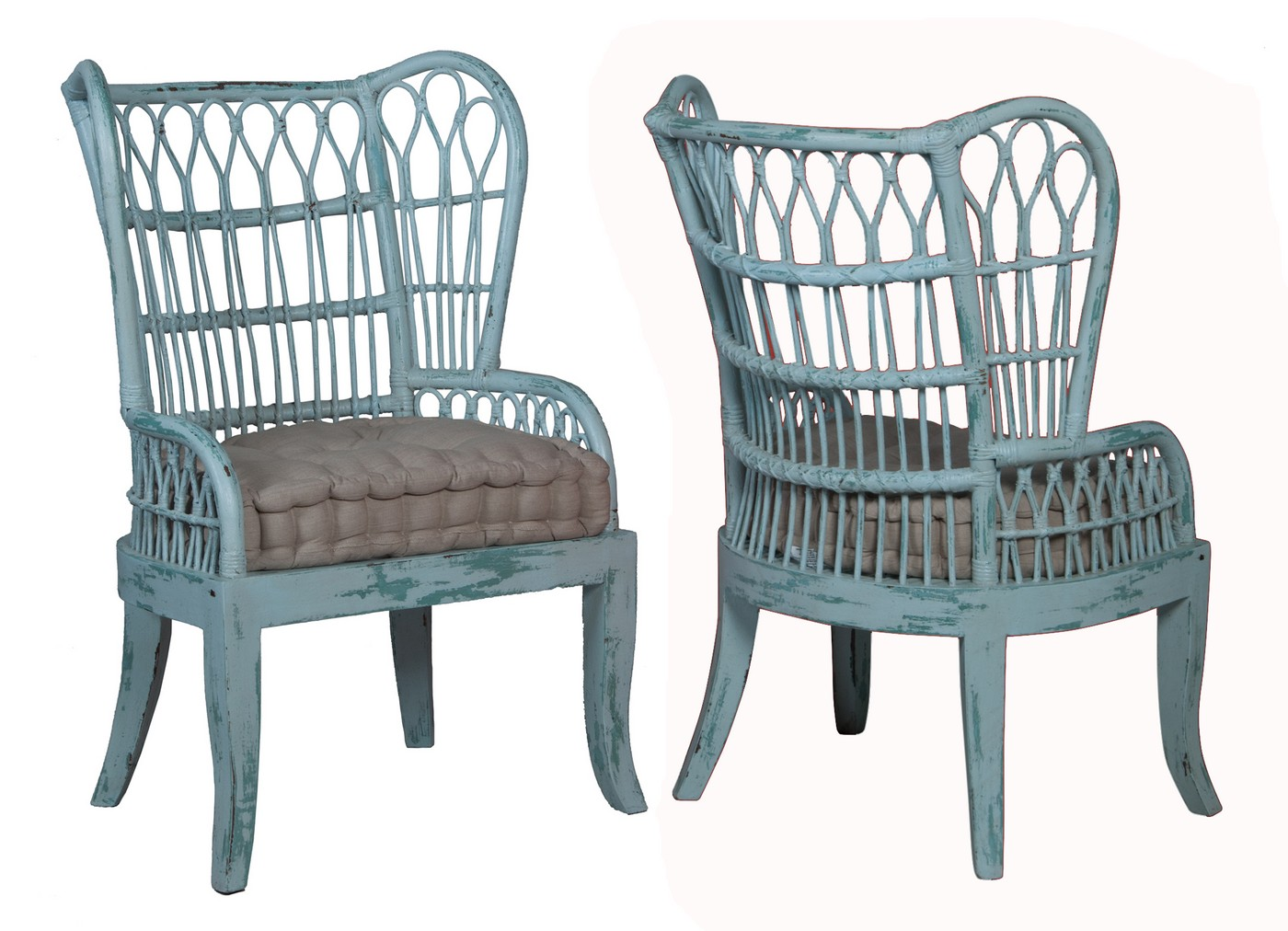 rattan wingback chairs chairpro wing back chair waterfront cooled blue
