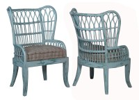 RATTAN WING BACK CHAIR, WATERFRONT COOLED BLUE ...