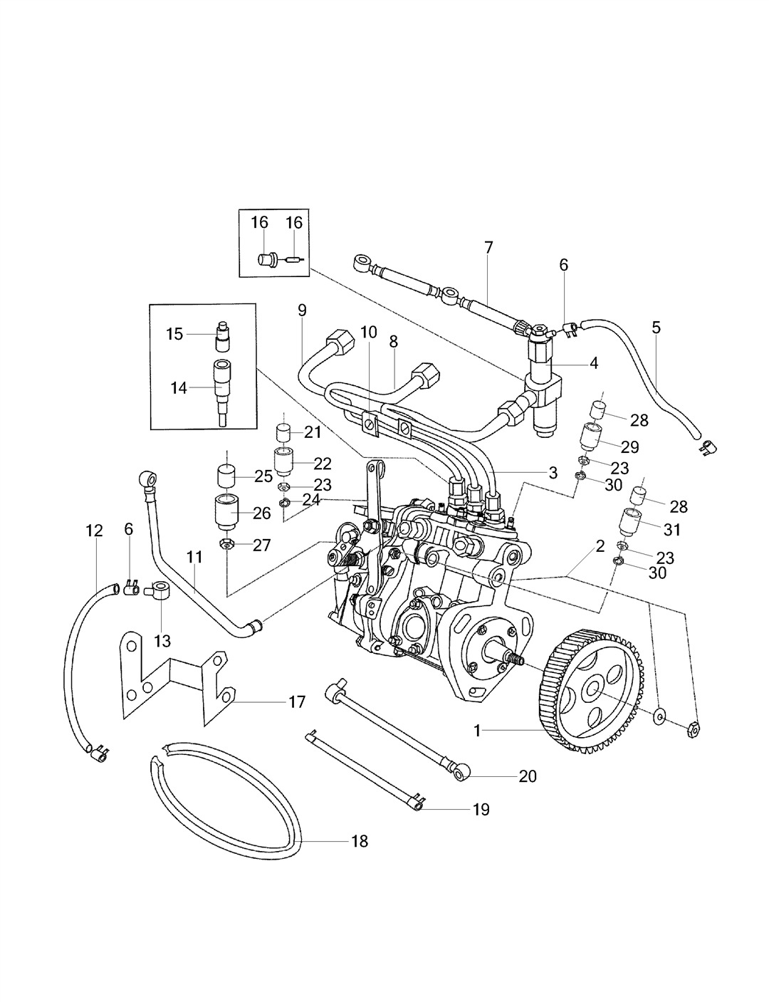 FUEL SYSTEM PARTS FOR 2525/ES-25 MAHINDRA TRACTOR