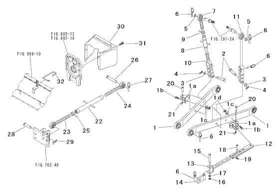 3-POINT LIFT PARTS FOR 3215 MAHINDRA TRACTOR