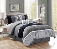 11 Piece Ruched Black/Gray Bed in a Bag Set