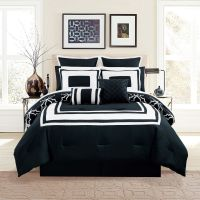12 Piece Bernard Black Reversible Comforter Set with Sheets