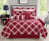 12 Piece Bernard Burgundy Reversible Comforter Set with Sheets