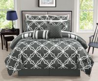 12 Piece Bernard Gray Reversible Comforter Set with Sheets