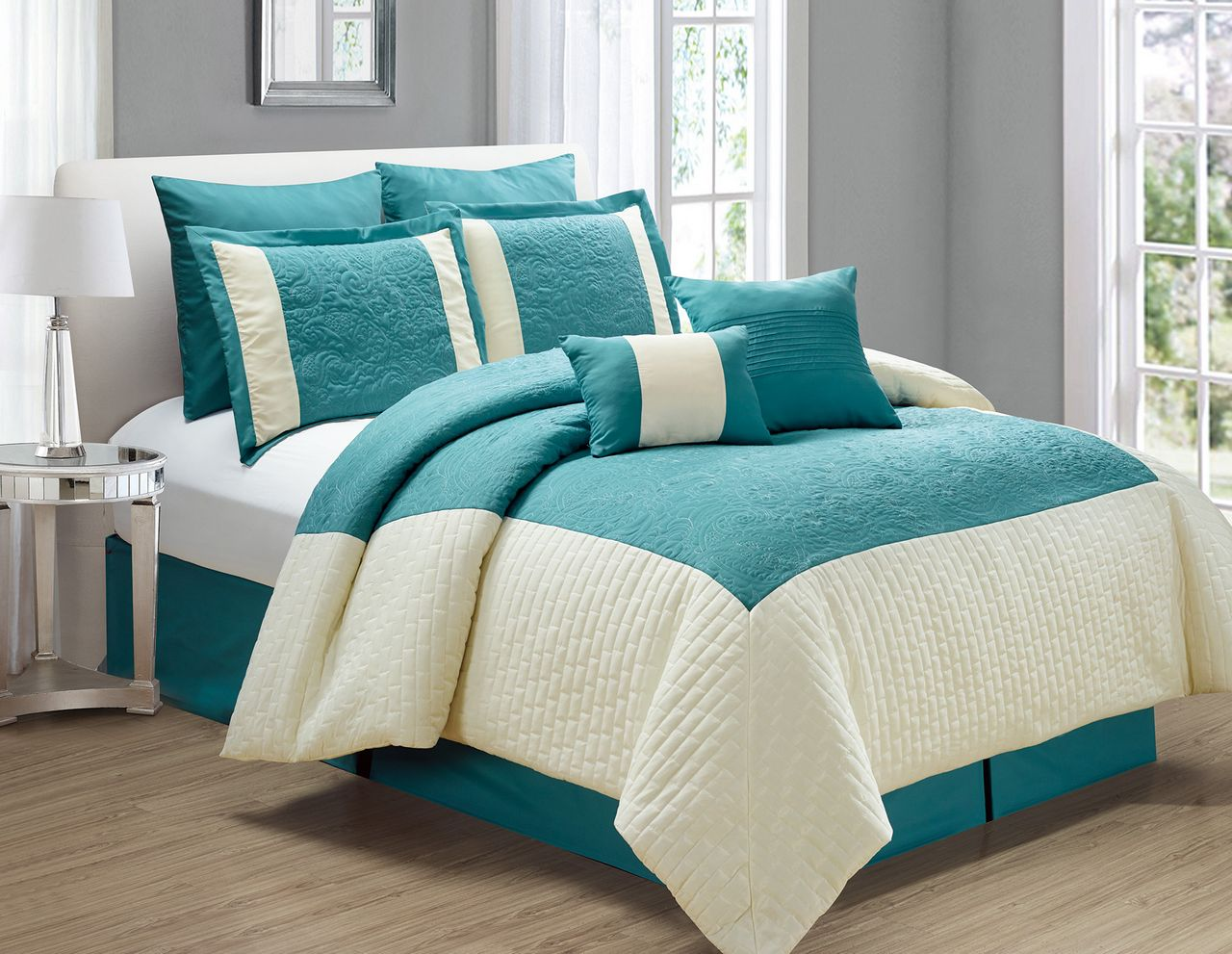 12 Piece Poloma Teal Ivory Bed In A Bag Set