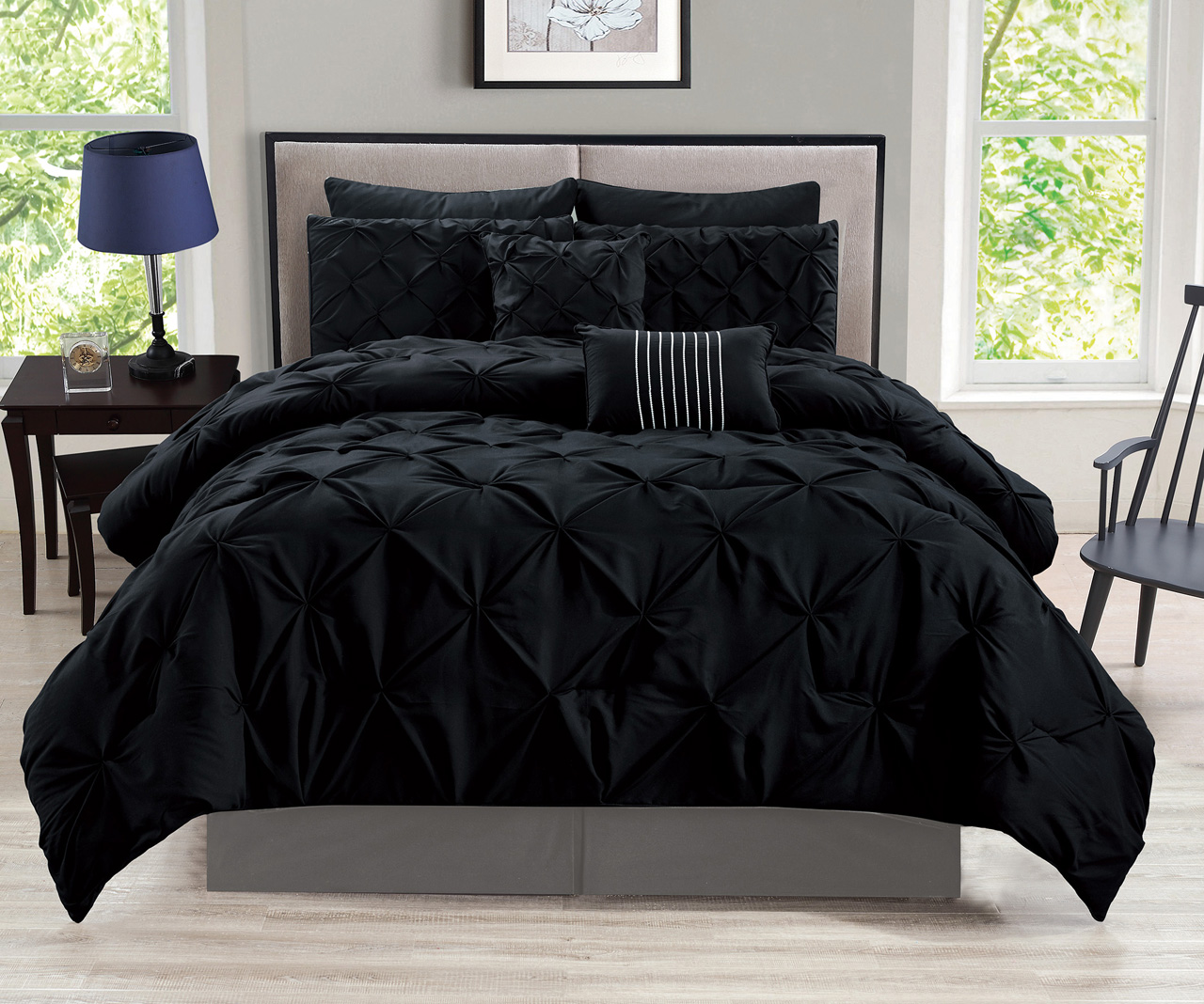 12 Piece Rochelle Pinched Pleat Black Bed In A Bag W 600tc
