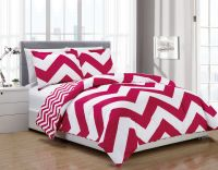 3 Piece Chevron Pink/White Reversible Down Alternative