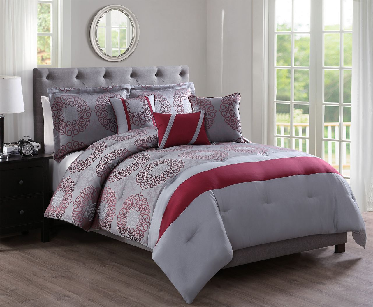6 Piece Sean Red/Gray Jacquard Comforter Set