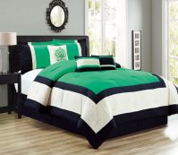 7 Piece Color Block Green/Black/Ivory Comforter Set