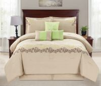 beige bedding sets 7 piece leaf vine embroidered beige ...