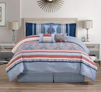 7 Piece Medallion Coral/Blue Comforter Set