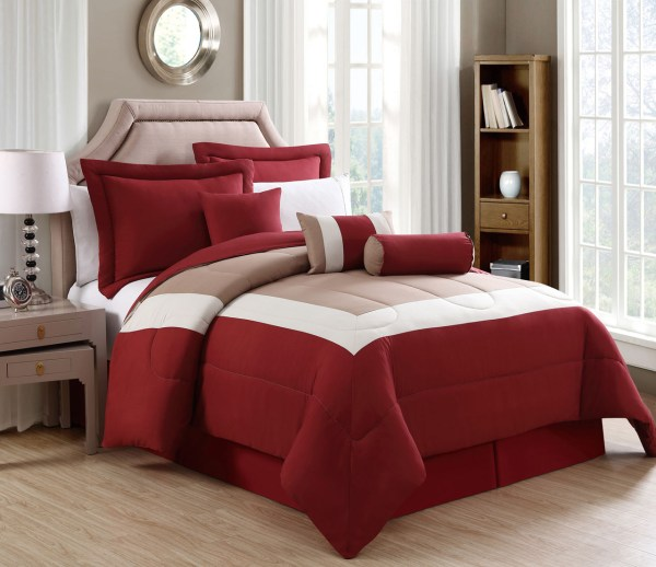 7 Piece Rosslyn Red Taupe Comforter Set
