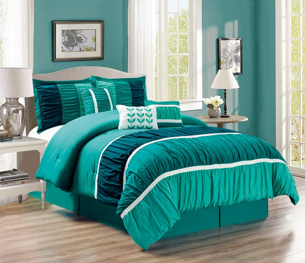 7 Piece Ruched Teal/Green Comforter Set