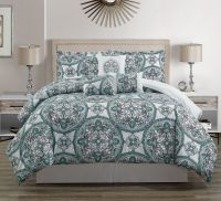 7 Piece Teal/Gray/White Comforter Set