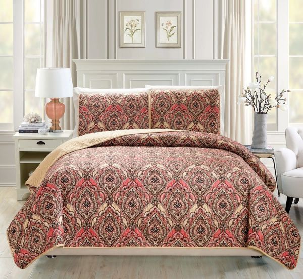 Floral Medallion Print Red Taupe Reversible Bedspread