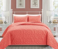 Seashell Coral Reversible Bedspread/Quilt Set