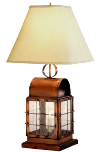 Back Bay Copper Lantern Table Lamp Handmade Nautical Light