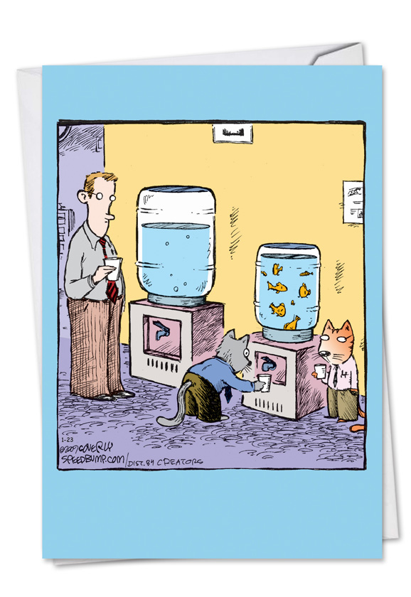 Cat Water Cooler Cartoons Birthday Greeting Card Dave Coverly