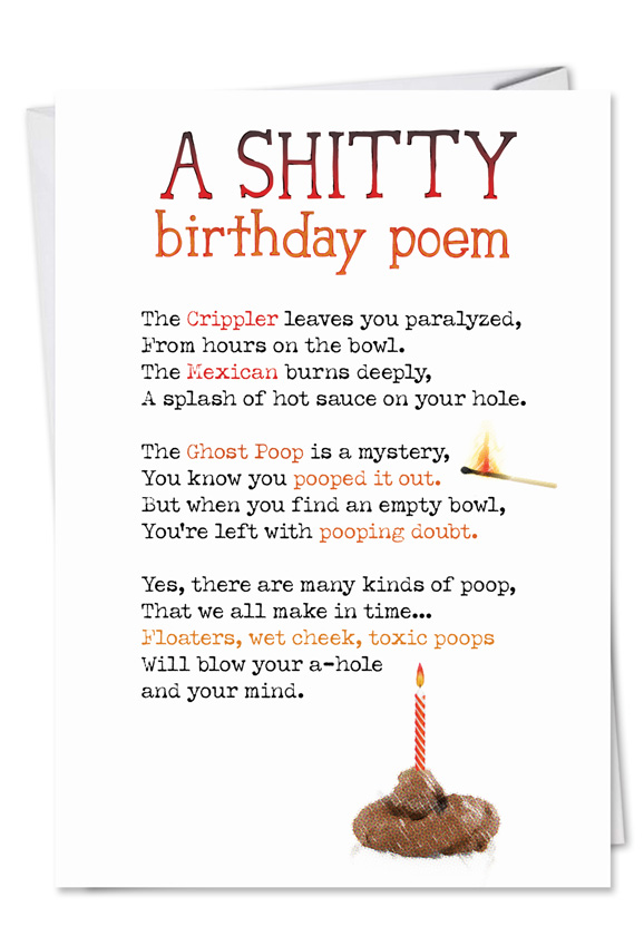 Shitty Poem Funny Dirty Birthday Card NobleWorks Cards