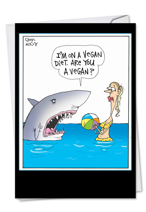 Vegan Shark Birthday Joke Greeting Card