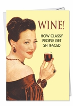 Wine Classy People Funny Birthday Card NobleWorks Com