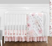 4 pc. Blush Pink, Grey and White Watercolor Floral Baby