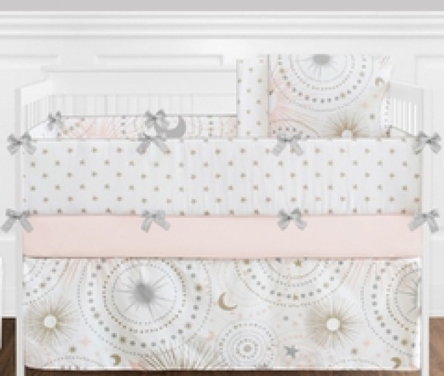 Pc Blush Pink Gold Grey And White Star And Moon Celestial Baby
