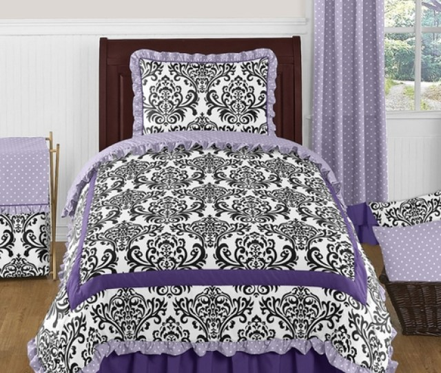 Lavender Purple Black And White Sloane Pc Twin Girls Bedding Set By Sweet Jojo