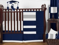 Navy Blue and Gray Stripe Baby Bedding - 11pc Crib Set by ...