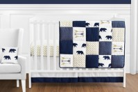 Navy Blue, Gold, and White Patchwork Big Bear Boy Baby ...