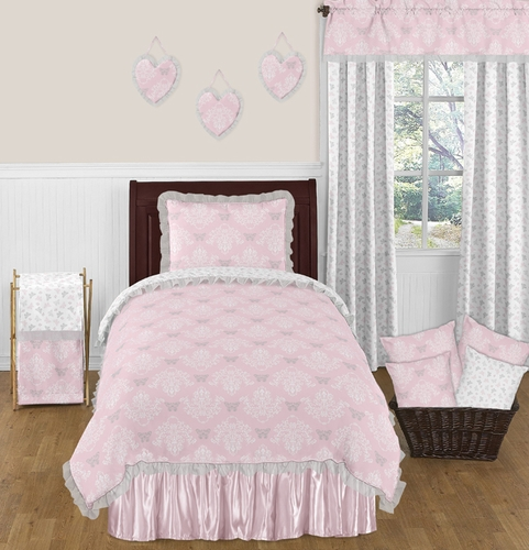 gray and pink twin girl bedroom ideas Pink and Gray Alexa Butterfly 4pc Twin Girls Bedding Set