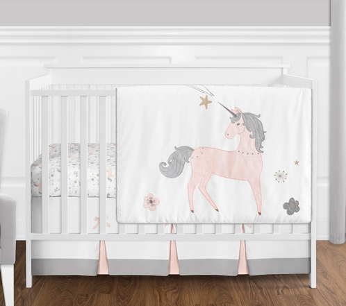 4 pc. Pink, Grey and Gold Unicorn Baby Girl Crib Bedding