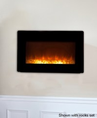 Fire Sense Black Wall-Mounted Electric Fireplace with Heater