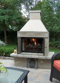 Mirage Stone Open Face Outdoor Gas Fireplace with Gas Logs ...