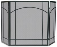 UniFlame 3 Fold Mission-Style Black Wrought Iron Fireplace ...