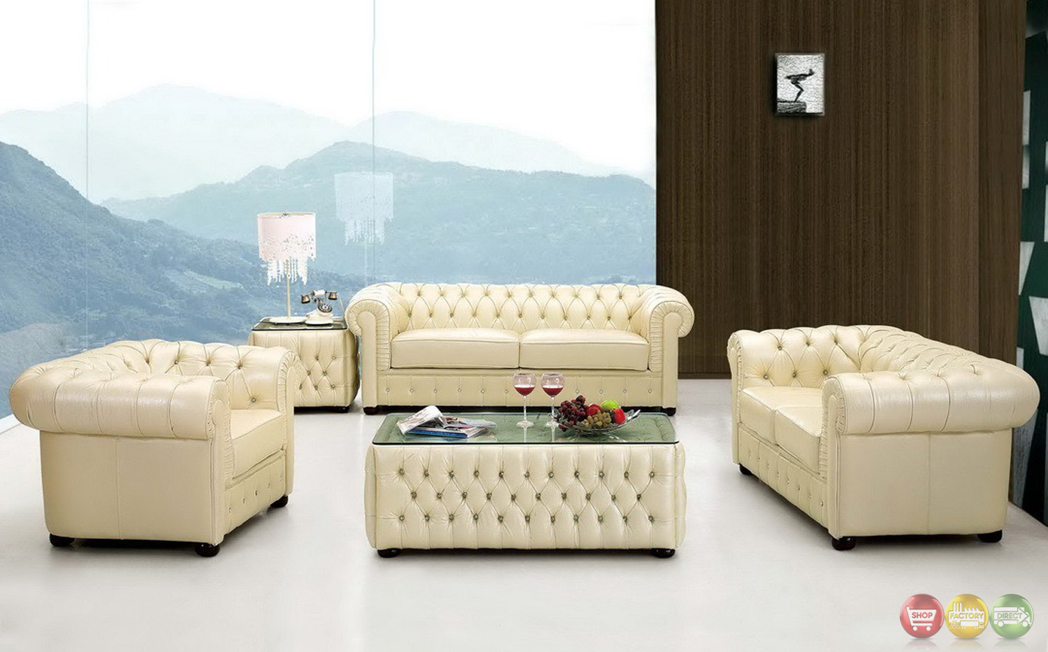 leather chesterfield sofa beige 2 seater and 1 chair 258 rhinestone tufted in cream top