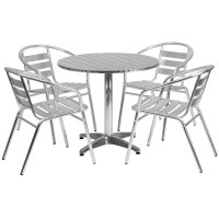 31.5'' Round Aluminum Indoor-Outdoor Table With 4 Slat ...