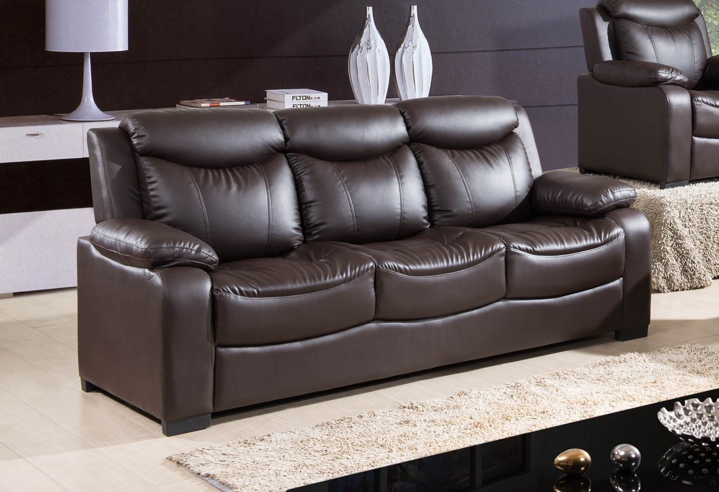 4087 modern bonded leather sectional sofa with recliners making new covers 5506 contemporary dark brown