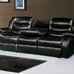 Black Reclining Sofa With Console Simmons Bordeaux Sleeper 644bl Leather Drop Down