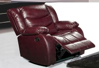 644BURG Burgundy Leather Rocker Reclining Chair With ...