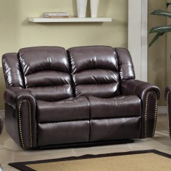 Nailhead Recliner Sofa Top Leather Manufacturers 684 Brown Reclining Loveseat With Trim