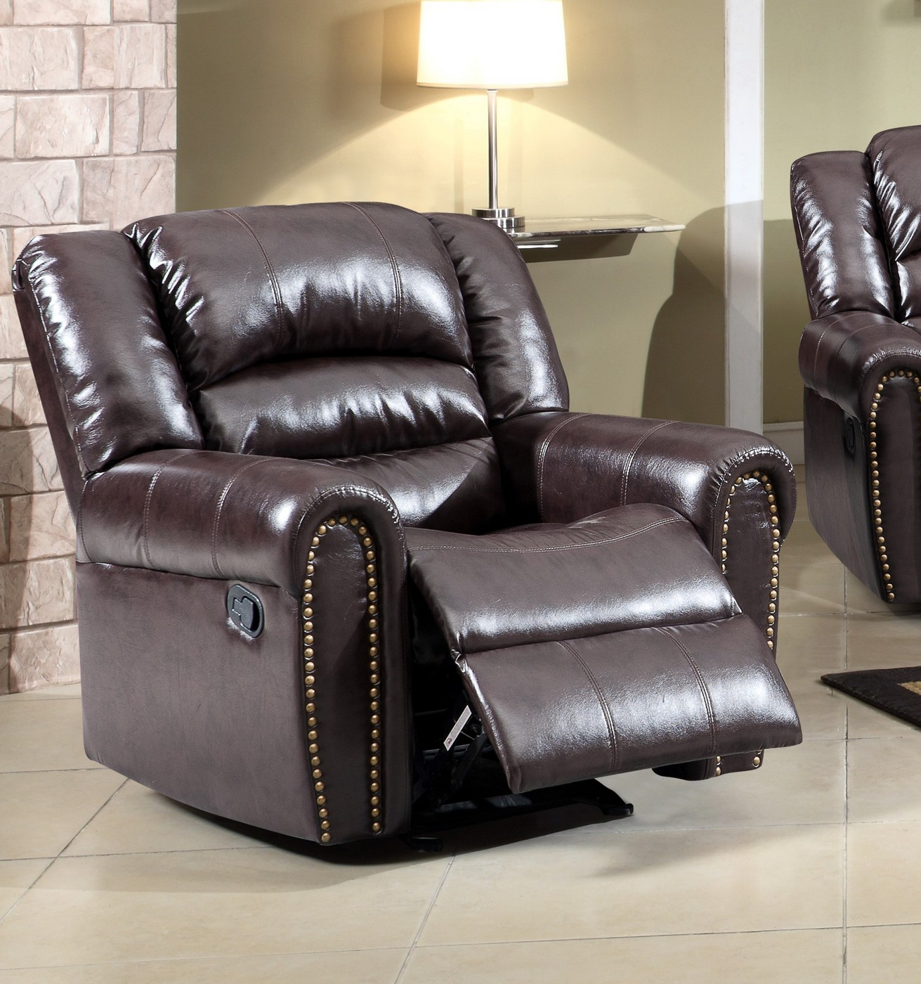 brown leather rocking chair hanging early settler 684 rocker reclining with nailhead trim
