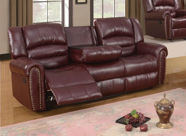 nailhead trim leather sofa set reclining fabric canada 686 burgundy with console and ...