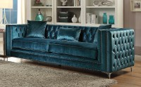 Aegean Contemporary Dark Teal Tufted Velvet Sofa with ...