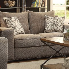 Contemporary Sofa With Wood Trim The Bed Store Alano Gray Chenille And Loveseat W